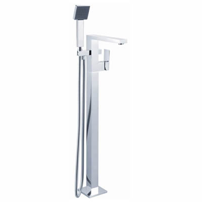Cube Freestanding Bath Mixer with Hand Shower