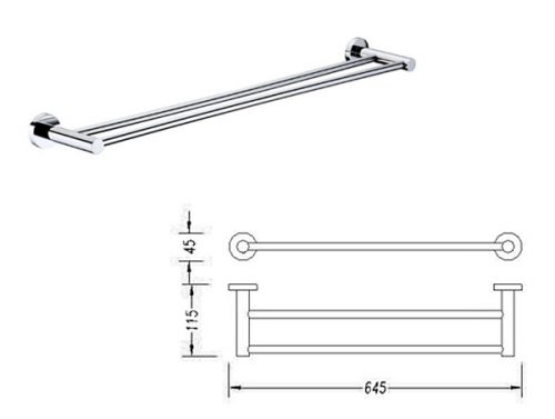 Round 900mm Double Towel Rail