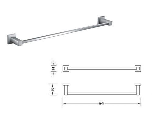Square 900mm Single Towel Rail