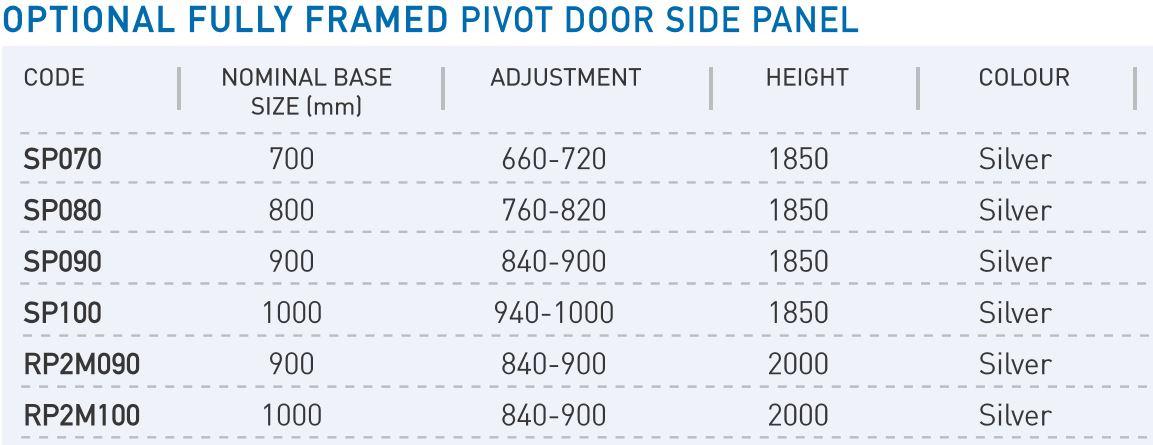 pivot door Side panel sizes