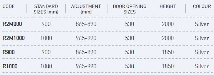 quadrant shower screen sizes