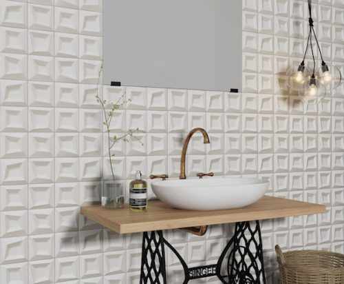 Frame Blanco White Tile Geometric feature square trendy