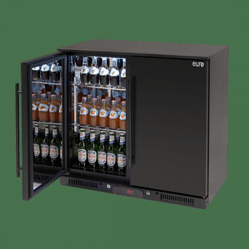 208lt Double Door Beverage Cooler (Solid Black Doors)