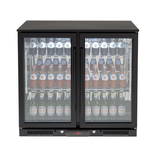 208lt Double Door Beverage Cooler (Black)