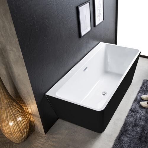Rio Black & White Back to the Wall Freestanding Bath