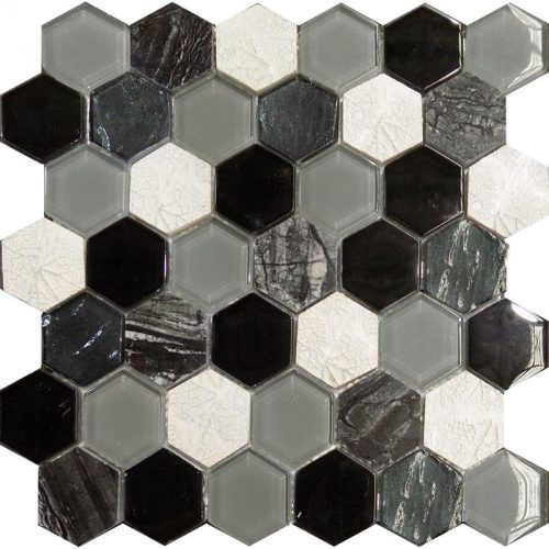 Art Deco Black Hexagon Mosaic