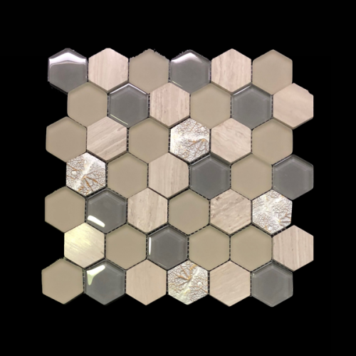 Art Deco Cream Hexagon Tile Mosaic