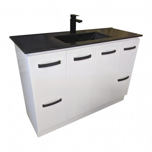 Vanity with 90cm Ceramic Top in Matt Black
