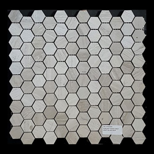 Tuscany Wood Light Grey 30mm Hexagon