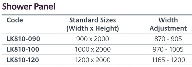 Shower Panel sizes
