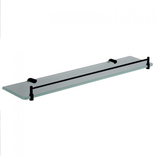 Black Round 500mm Glass Shelf