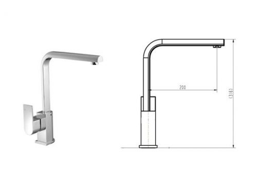 Cube Curved Sink Mixer Specs