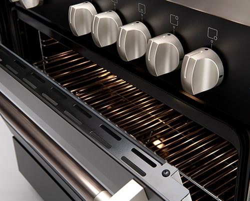 90cm Black Dual Fuel Freestanding Oven - Door Open