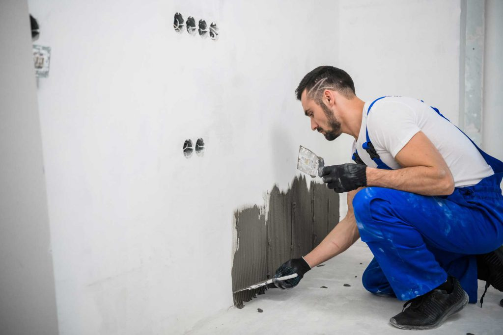 tiling over plasterboard stud wall